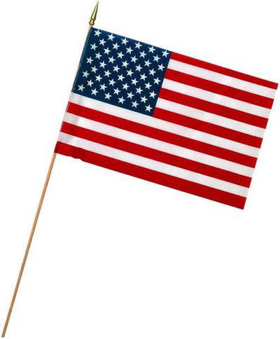 "US Stick Flag,  4"" x 6"", Plastic Staff, Gold Spearhead"