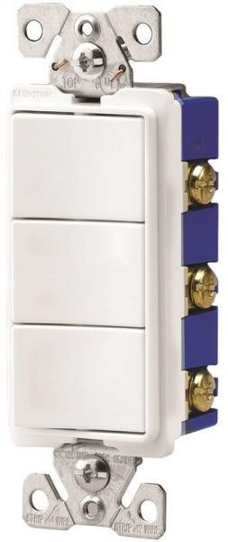 Deco Combination Switch, 3 SPST, White