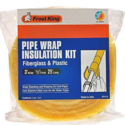 "Pipe Insulation, Wrap Kit, 3"" x 25' x 1/2"", Fiberglass"