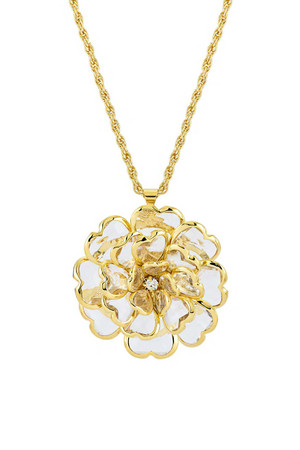 Gold & Crystal Flower Pendant by Lola Leoni