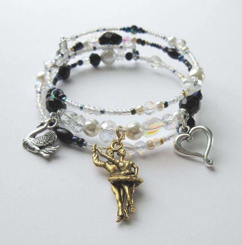 The Swan Queen bracelet represents Odette and her double, the black swan Odile.