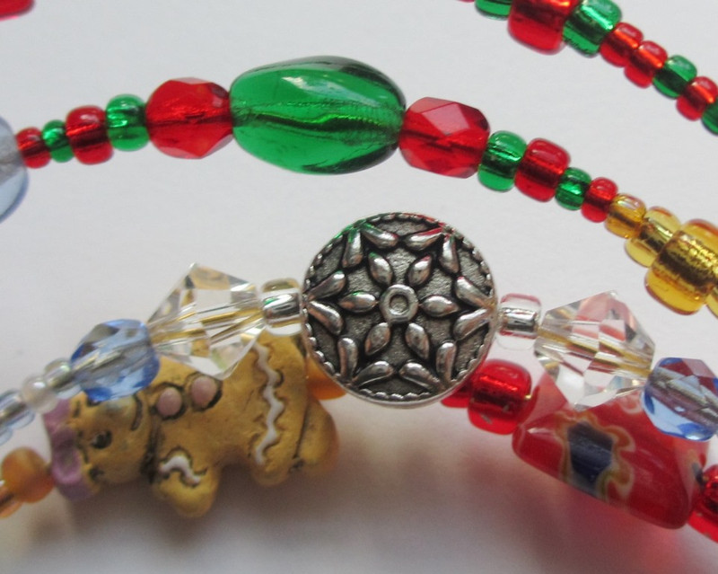 The Nutcracker Bracelet details: Snowflake and Mother Ginger beads.