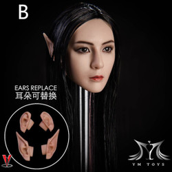 YMToys YMT09B Black-haired Elf Headsculpt