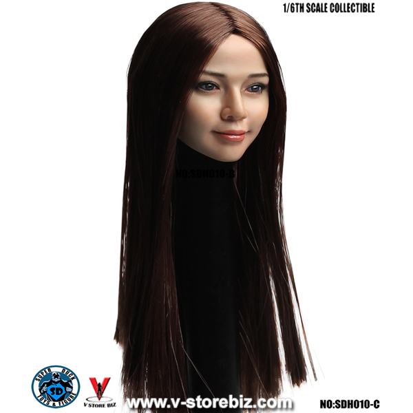SuperDuck SDH010C Asian Female Headsculpt (Long Brown Hair)