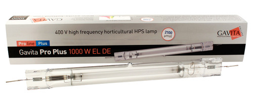 Gavita Pro Plus 1000W EL Double Ended 400V lamp is one of the best 1000 watt HPS lamps on the market. Specifically designed for high frequency electronic ballasts it has a connection at each side of the lamp, removing the need for a frame wire inside the lamp. For use with Gavita fixtures only. The jacket of this double ended lamp is made from quartz glass. Do not handle with bare hands. Oil from your hands can damage the lamp. Warranty applies only if these lamps are operated with a Gavita Pro series ballast.