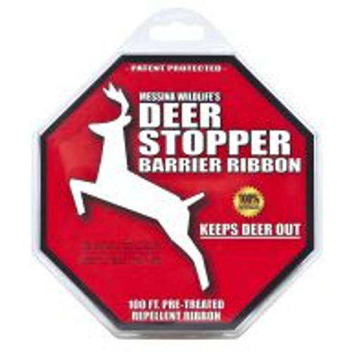 The Deer Stopper Barrier Ribbon is a polyethylene ribbon pretreated with Deer Stopper. This product is a highly effective perimeter barrier system for preventing deer, elk and moose damage on all shrubs, flowers, plants and turf areas when used according to directions. This product works by smell and taste. Covers an area of 625 sq ft.