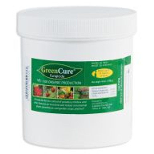 """GreenCure is a potassium bicarbonate-based fungicide used to control powdery mildew, black spot and other common plant diseases. It's recommended as a foliar treatment for more than 85 different plant varieties including vegetables, trees, ornamentals and houseplants, and one tablespoon of powdered GreenCure added to one gallon of water will cover approximately 450 square feet. GreenCure is also registered """"for organic production"""" by the USDA's National Organic Program (NOP)."""