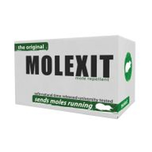 Earth-conscious gardeners can use all-natural Molexit anywhere they want to deter tunnel making moles. Castor-oil-based Molexit comes in a dry granular formula and is easy to broadcast by spreader or scatter by hand. One 6.8-pound box covers up to half an acre. Extensive testing of Molexit done by the Department of Forestry at the University of Kentucky revealed no mole activity for up to six weeks in 80 percent of the treated area. Duration of effectiveness depends on soil and weather conditions.