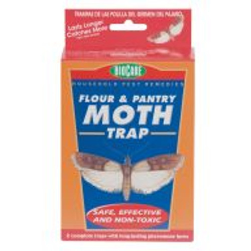 The Flour and Pantry Moth Trap uses pheromones to attract male moths. Once they enter the trap, they are caught and can't mate. Over time, populations will dwindle. These traps are safe and effective, contain no chemicals and are non-toxic.