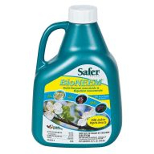 A botanical concentrate that kills and repels over 30 common pests. Effective against aphids, caterpillars, gypsy moths, hornworms, leaf hoppers, leaf miners, Mexican bean beetles, mealy bugs, thrips, whiteflies and many other pests. Mix 1 part BioNEEM to 40 parts water, and apply every 7 to 10 days. Use at least 3 times to break pests' reproductive cycles.