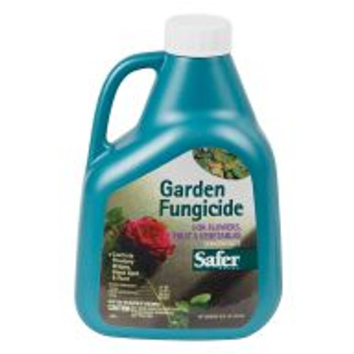 Safer Garden Fungicide prevents and controls black spot, rust, leaf spot and powdery mildew on fruits, vegetables and ornamentals. This is a natural sulfur-based formula that can be used up to the day of harvest. Mix three to six teaspoons of concentrate per gallon of water; apply every 7-10 days.