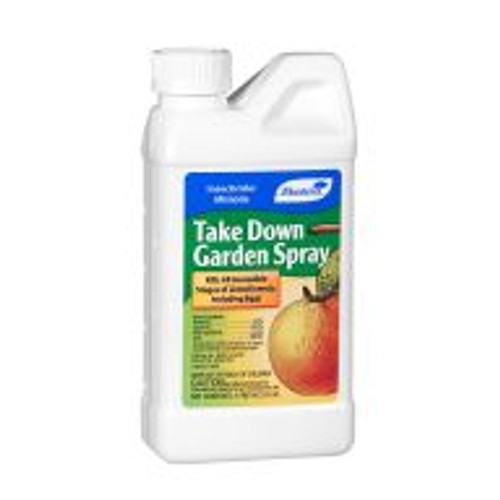 Take Down Garden Spray combines natural pyrethrin with the residual activity of horticultural canola oil. Gardeners can use it on vegetables, fruit trees, houseplants, and ornamentals to control aphids, beetles, mealy bugs and caterpillars. It kills all stages of insects, including eggs.Take Downdoes not remain in the environment for long periods of time but it istoxic to fish and domestic animals.