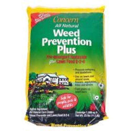 Weed Prevention Plus 8-2-4 pelletized formula with corn gluten meal stops weeds where they start. Weeds' roots never get a chance to develop, so new weed seedlings die quickly. Corn gluten effectively controls crabgrass, dandelions, clover, and many more. Formula comes in a re-sealable easy-to-use shaker bag, and works well in flower gardens, on landscaping, around trees and under bird feeders. Weed Prevention Plus is safe, and will not harm children or pets, even immediately after application. All-natural formula prevents weeds and worry. 25 lb bag.