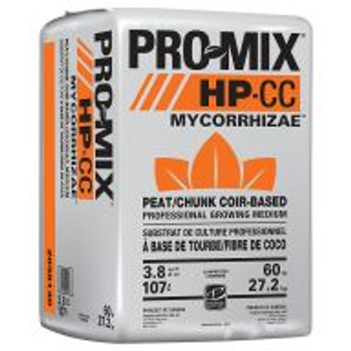 PRO-MIX® HP-CC MYCORRHIZAE™ is a lightweight, high-porosity peat-based growing medium that contains chunk coir. It ensures optimal growth, especially when high air capacity and extra drainage are required. It is ideal for water-sensitive crops, rooting cuttings and low-light growing conditions, and it contains a beneficial mycorrhizal inoculum (Glomus intraradices). These microscopic fungi attach to and colonize the root systems working in symbiosis with plants. It benefits the plant by increasing water and nutrient acquisition (especially phosphorus, copper and zinc). This symbiotic relationship between fungi and plant results in overall improved plant growth. PRO-MIX® HP-CC MYCORRHIZAE™ is suitable for a wide variety of horticultural plants.