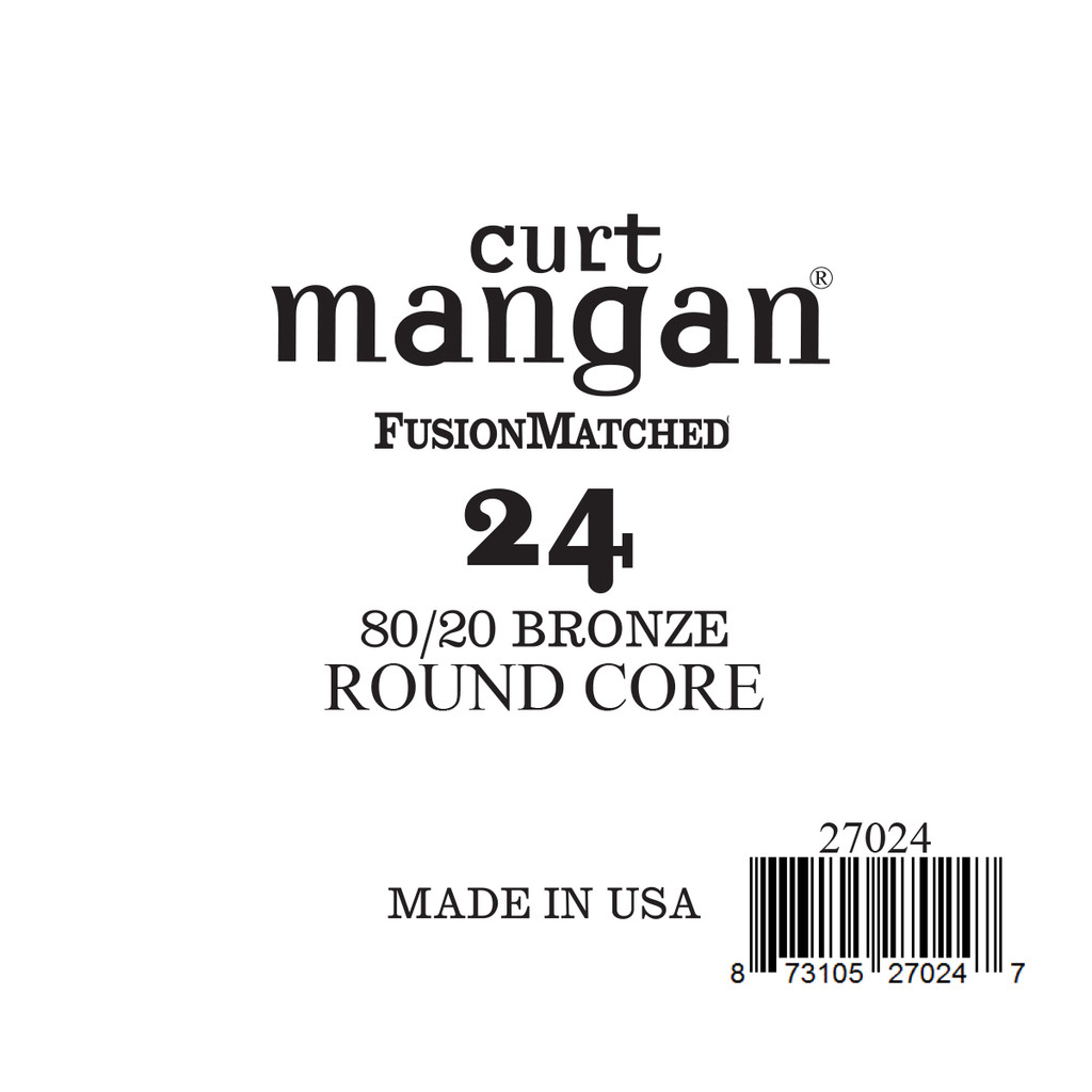 24 80/20 Bronze ROUND CORE Single String