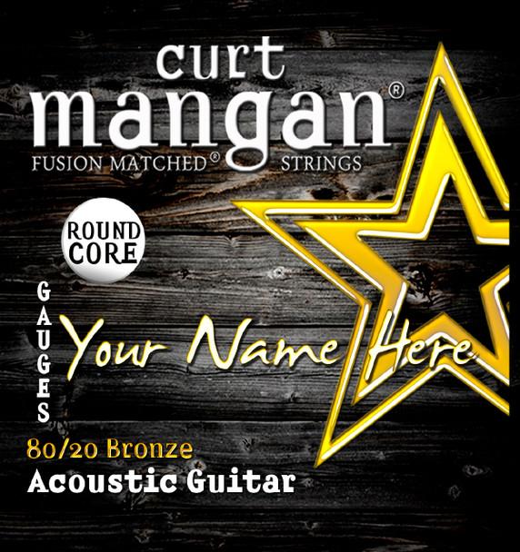 8 X 80/20 Bronze ROUND CORE Wound 3rd 6-String Custom Guitar String Sets