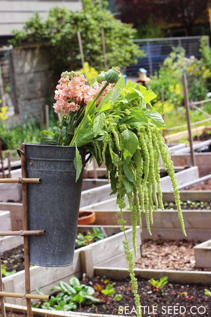 Floral Bucket - Grey Zinc - 13 inch