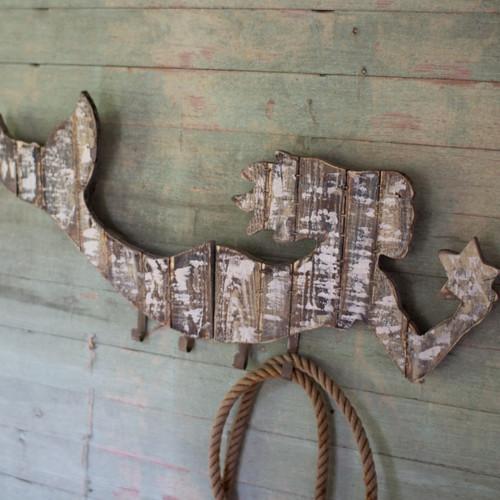 Wooden Mermaid Coat Rack