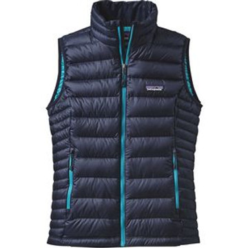 Patagonia Women's Down Sweater Vest in Navy Blue with Epic Blue