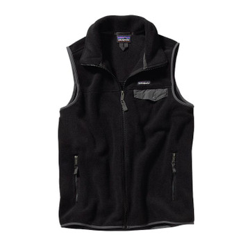 Patagonia Men's Lightweight Synchilla® Snap-T® Vest in Black with Forge Grey