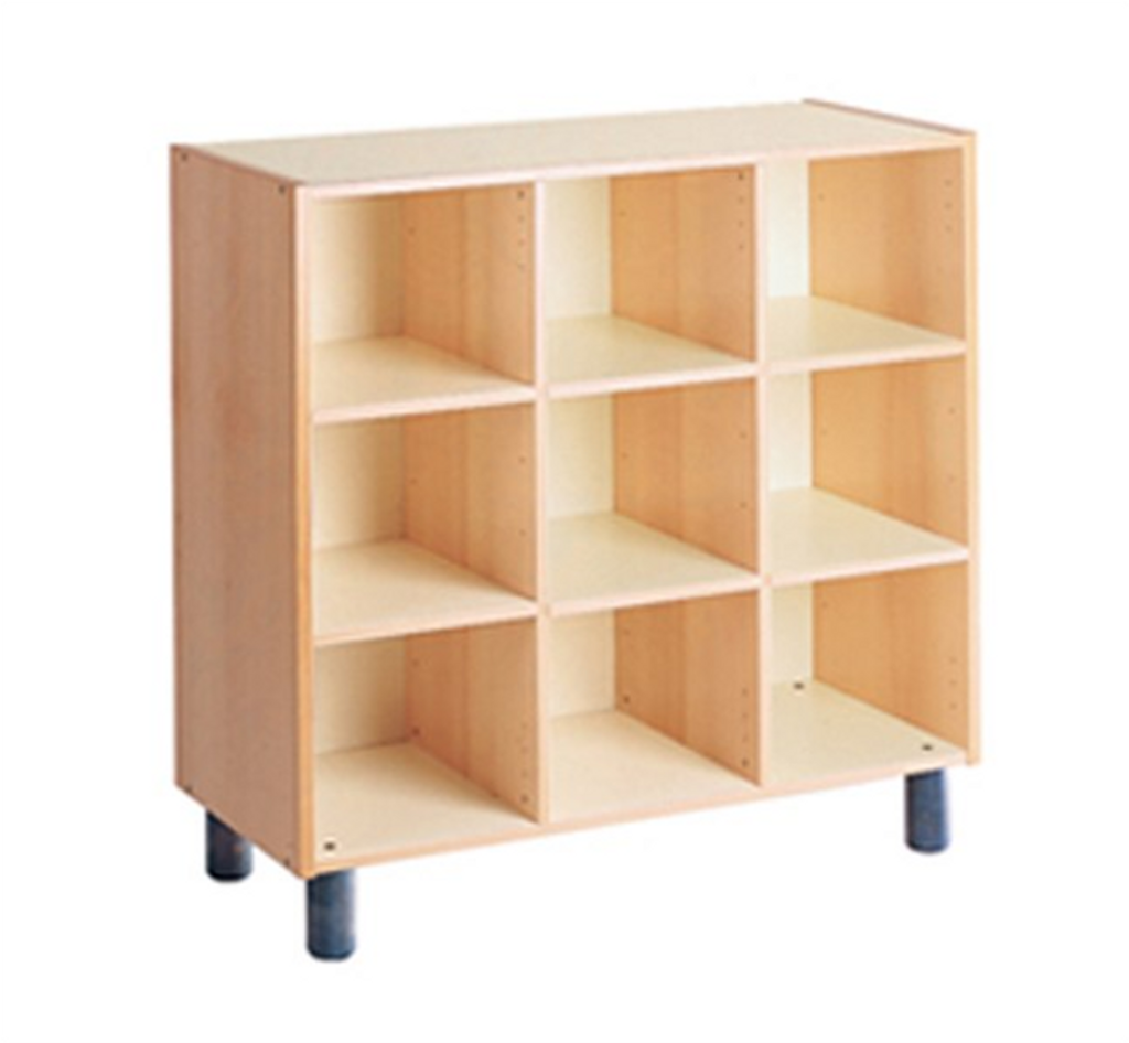 Cabinet with 9 compartments can be used as locker, each compartment is 30x30x41 cm, note the cabinet comes with adjustable wooden beechwood feet or castors