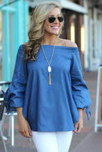 Brush It Off Top: Chambray