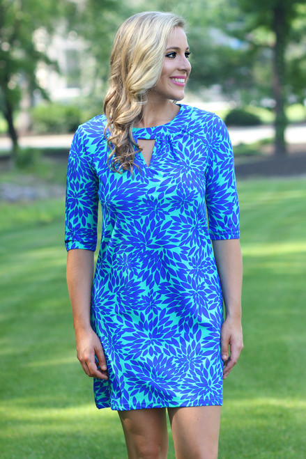 Ocean View Dress: Aqua/Royal