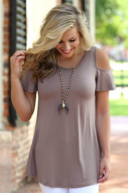 Say No More Top: Taupe
