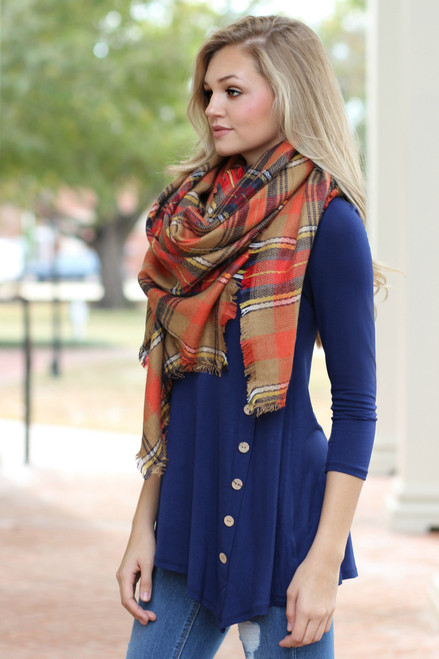 Cute As A Button Tunic: Navy