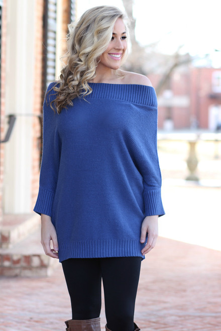 Off The Shoulder Sweater: Midnight Blue