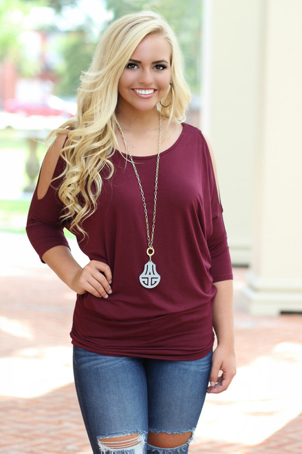 In The Moment Dolman Top: Burgundy