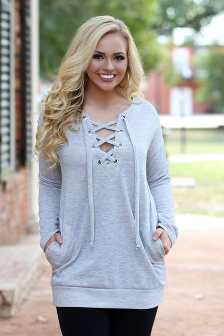 Lace Up Sweatshirt Tunic: Heather Grey