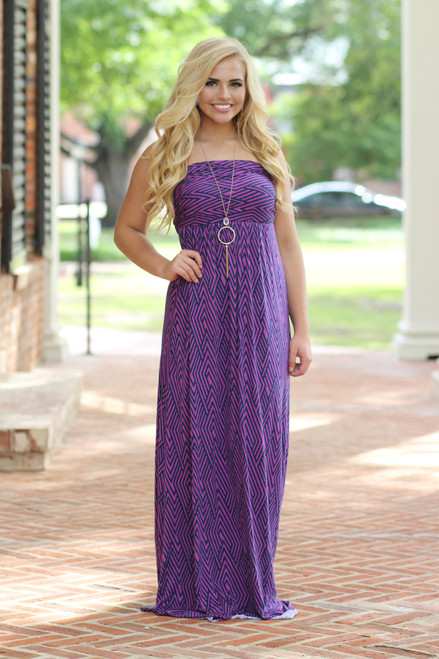 Beachy Keen Maxi Dress: Pink/Navy