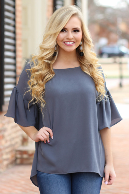The Parker Shift Top: Charcoal