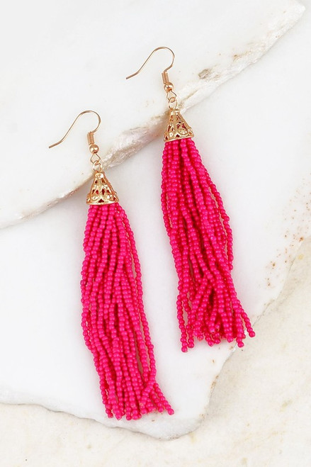 Oh La La Tassel Earrings: Fuchsia