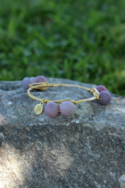 Bourbon and Boweties Bangle: Deep Violet Double Druzy Sphere