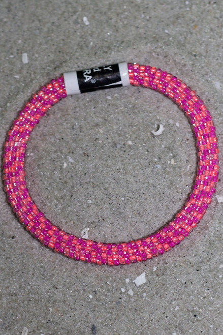 Lily & Laura Bracelet: Neon Coral/Pink