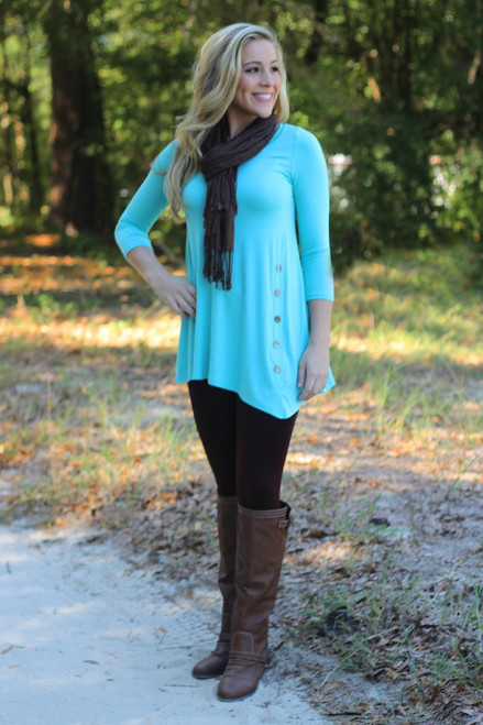 Cute As A Button Tunic: Mint