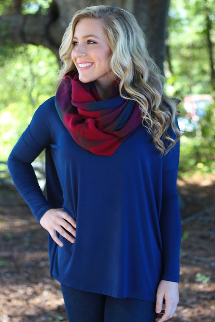 Piko Long Sleeve Top: Navy