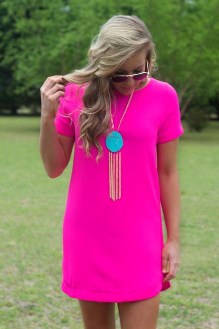 Hot Pink | Shift Dress | Boutique Dress | Lavish Boutique