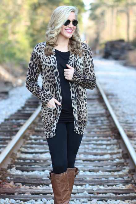 Breathe Easy Cardigan: Leopard