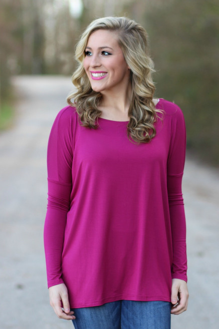 Piko Long Sleeve Top: Fuchsia