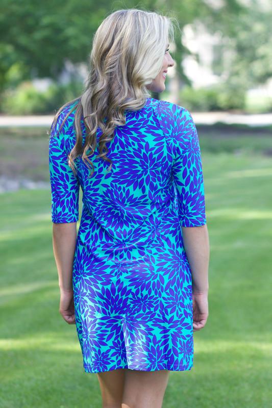 Ocean View Dress: Aqua/Royal