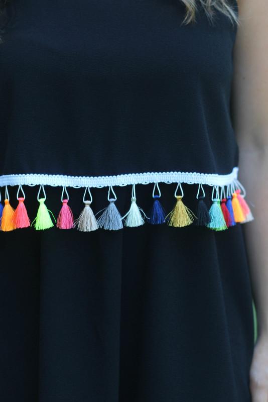 Tassel Around Dress: Black