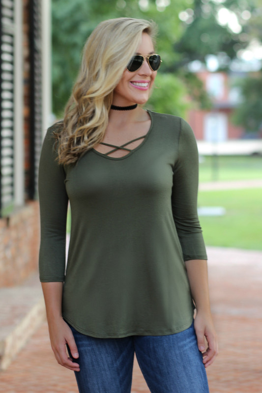 Criss Cross Top (Three Quarter Sleeve): Olive