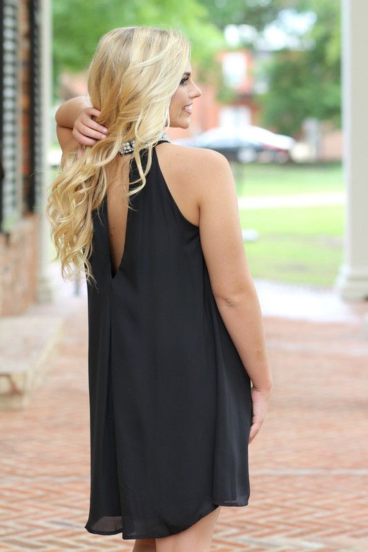 Cross My Mind Dress: Black