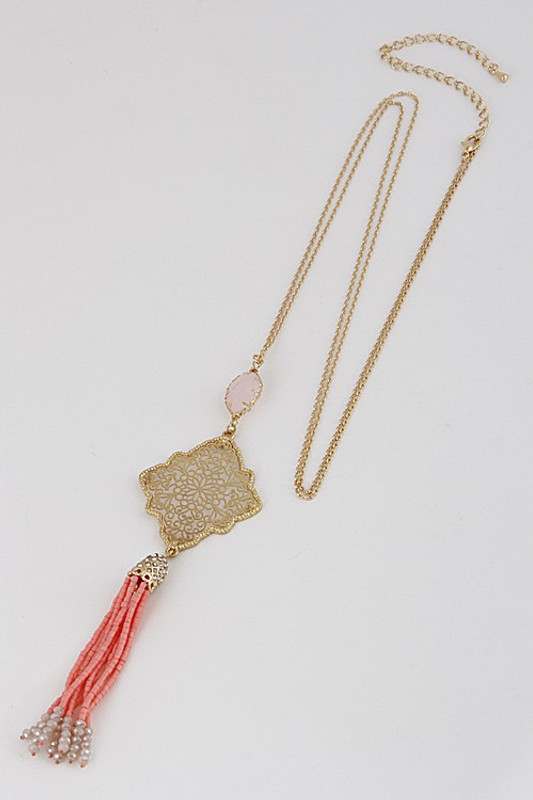 New Day Necklace: Gold/Coral