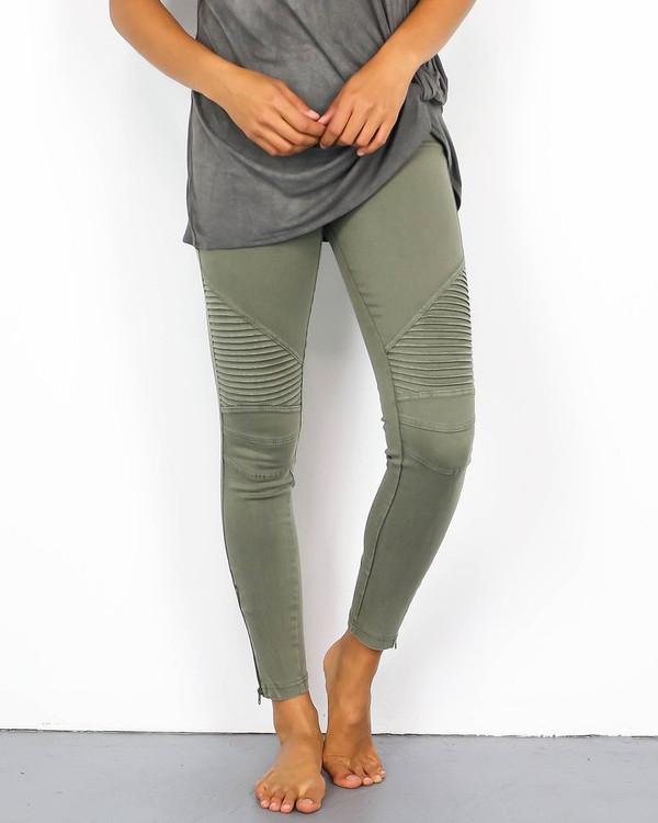 Moto Leggings: Olive