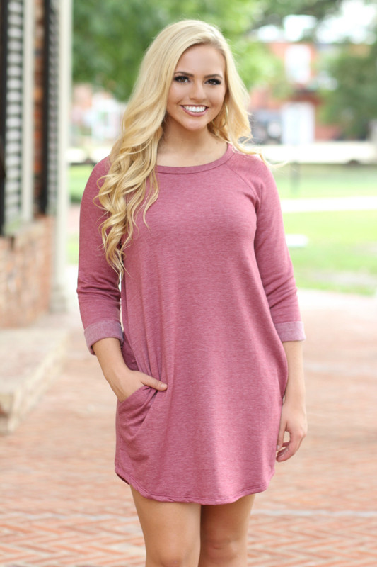 Sweatshirt Dress: Heather Burgundy
