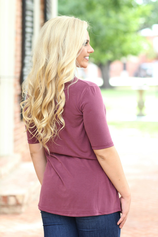 The Harlow Top: Burgundy